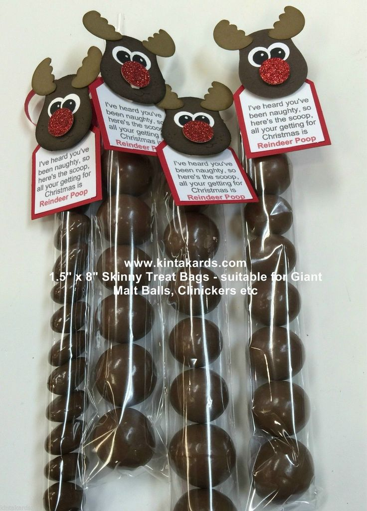 "Skinny Treat Bag Reindeer Poop Stampin Up Punch Art Kit - makes 4 - 1.5 ""x 8"" 