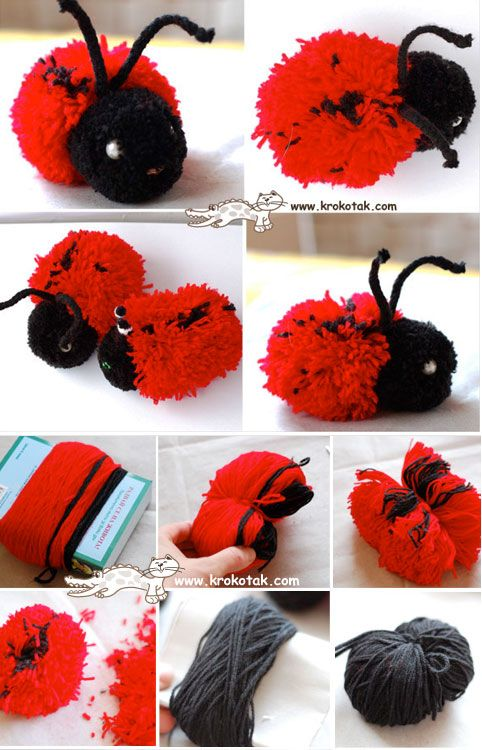 Best 20 ladybug crafts ideas on pinterest for Cute pom pom crafts