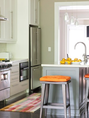 Gray green kitchen with orange accents c o u n t r y k - Kitchen with orange accents ...