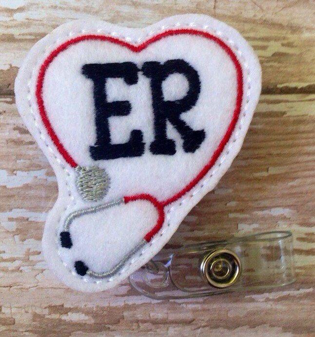 ER retractable badge reel, ER felt badge reel, emergency  room retractable badge reel, doctor id holder, doctor badge reel, ER doc id holder by MyLittleFashionistas on Etsy https://www.etsy.com/listing/253085835/er-retractable-badge-reel-er-felt-badge