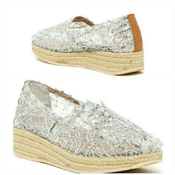 Joy & Mario Imperial Espadrilles Silver version round toe, sheer construction with net overlay and sequins accents, goring at inset slip-on Brand new in the box...really cute on. joy& mario Shoes Espadrilles