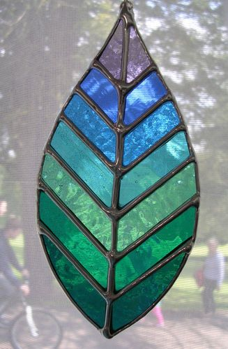 Sea Sky Leaf! Beautiful Stained Glass Hanging Suncatcher - pewtermoonsilver