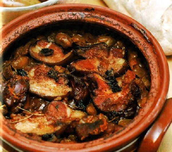Eggplants baked with mushrooms in a pot