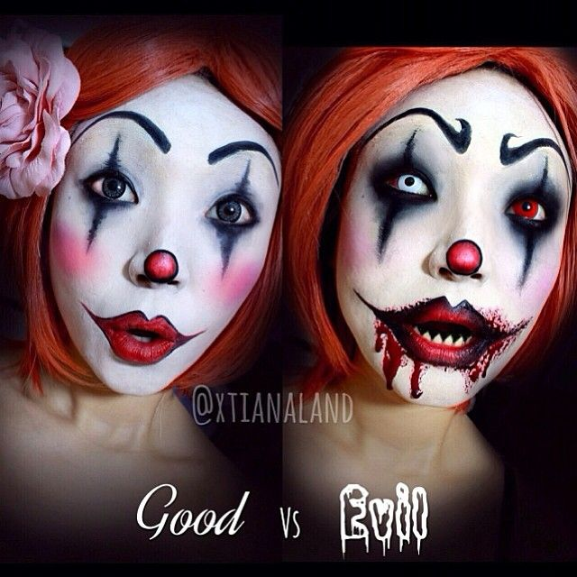 """#ShareIG """"GOOD vs EVIL #clown makeup :) I used @lagirlcosmetics HD pro primer in white & black for the face and eyes, as well as their gel liner kit (comes with a brush which I really like!) """" @xtianaland Amazing clown make up! Which clown do you like?!"""