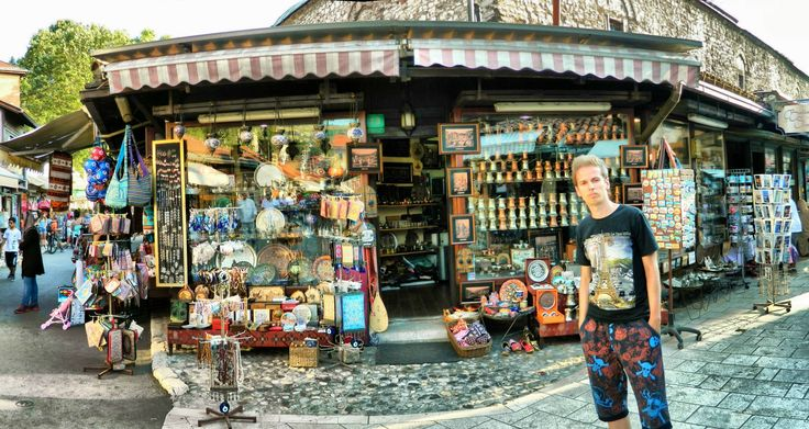 Shops in Bascarsija, Sarajevo, Bosnia and Herzegovina, Nikon Coolpix L310, 5.6mm, 1/100s, ISO 80, f/3.2, panorama mode: segment 2,  HDR-Art photography, 201607101743