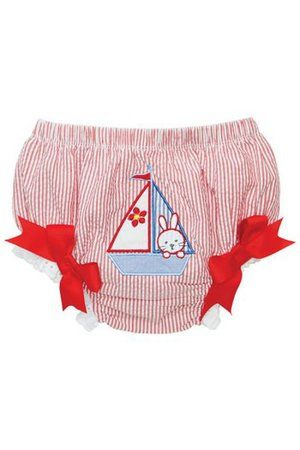 Red stripe baby girl's nautical bloomer / nappy cover