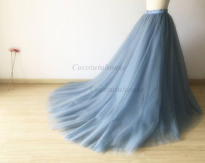 Falda de tul azul polvoriento con un largo tren piso longitud tul /Adult del tul de mujeres falda larga falda / TuTu vestido/Dama de honor/despedida de soltera de la novia