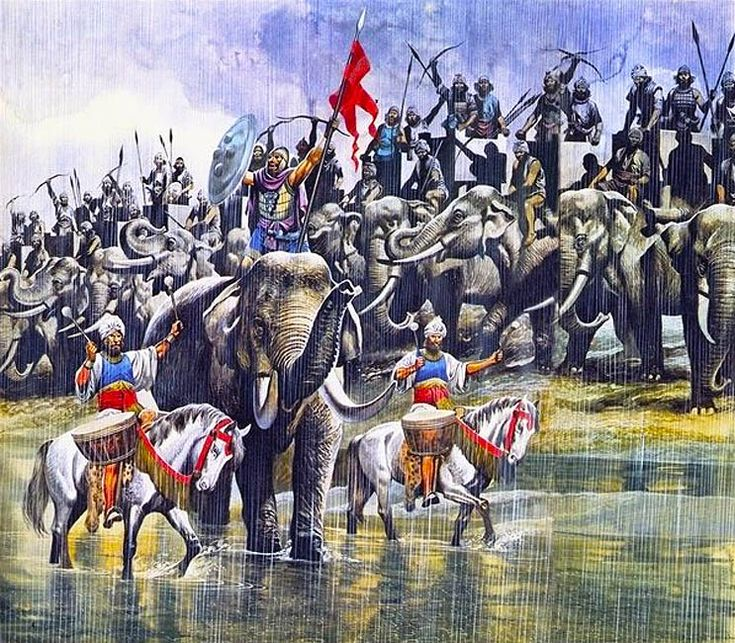 King Porus's Indian army facing Alexander the Great in the torrential rain at the battle of Hydaspes River, 326 BC. Artwork by Ron Embleton.