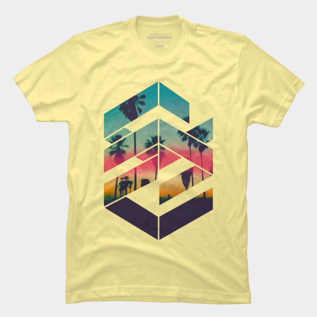 Geometric Sunset beach Men's Graphic T Shirt - Design By Humans: Geometric  Sunset beach is a cozy ring spun cotton t-shirt designed by Caferacer for  Design ...