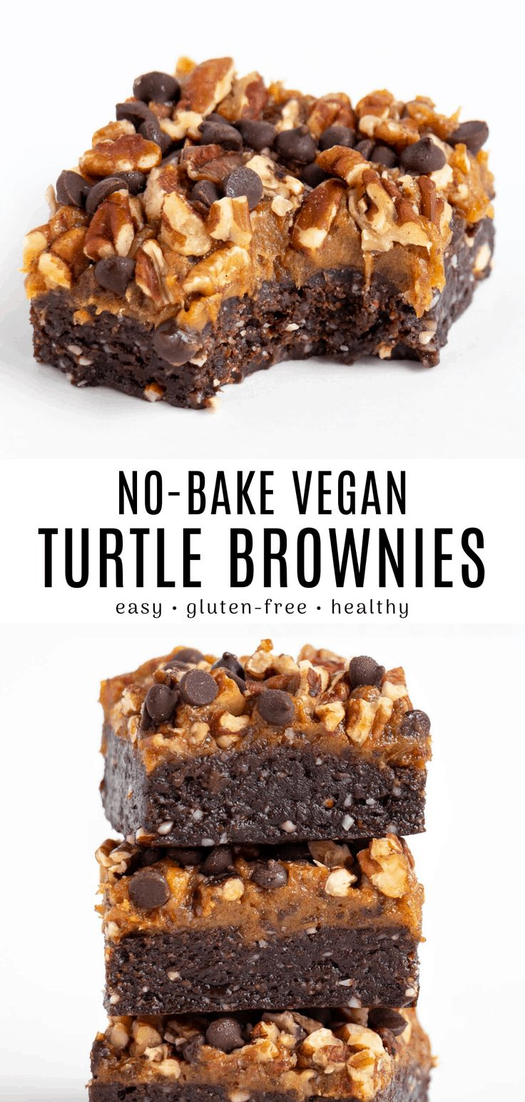 These no bake turtle brownies are rich, decadent, and delicious! Enjoy a soft and chewy raw vegan brownie topped with ca…