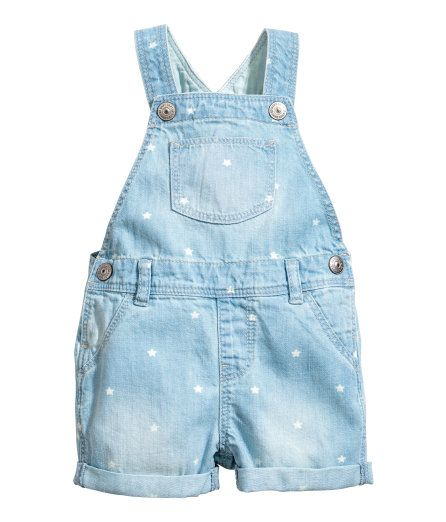 Check this out! Bib overall shorts in soft, washed denim. Adjustable suspenders with snap fasteners at top. Bib pocket, seam at waist with belt loops, and mock fly. Snap fasteners at sides, mock front pockets, one regular back pocket, and sewn cuffs at hems. - Visit hm.com to see more.