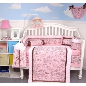 Soho Pink Brown French Toile Baby Crib Nursery Bedding Set 13 Pcs Included Diaper Bag