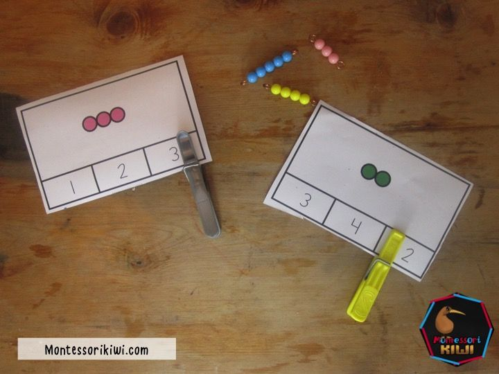 montessori colored bead clip cards for numbers 1-10 great for preschool or elementary math