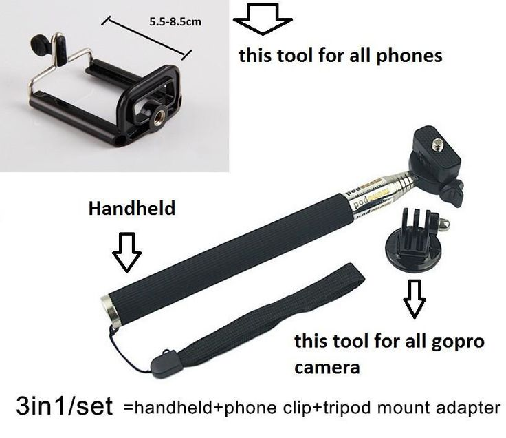 Handheld monopod+tripod mount adapter+phone self timer tools for iphone4/4s/5/5s samsung galaxy s3/s4/s5 note 2/3/4 gopro