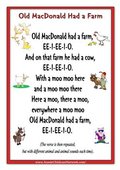 Printable Old MacDonald Had a Farm