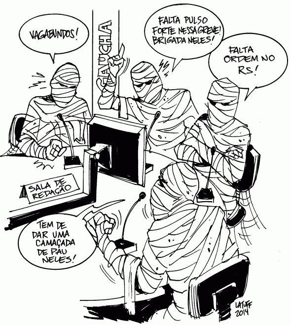 Hoje os anacrônicos locutores esportivos da @RDGaucha bateram na greve de ônibus | Latuff Cartoons