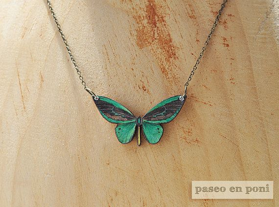 Hey, I found this really awesome Etsy listing at https://www.etsy.com/listing/152612879/emerald-green-butterfly-necklace