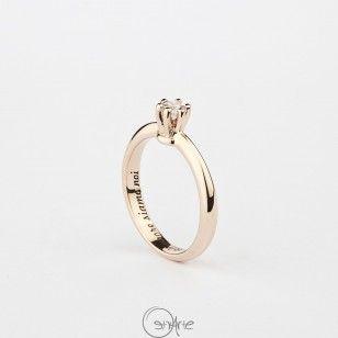 """Solitario """"Corona"""" in oro rosa 9k con diamante - San Valentino 2016"""