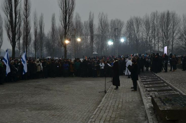 Ceremony in Birkenau.