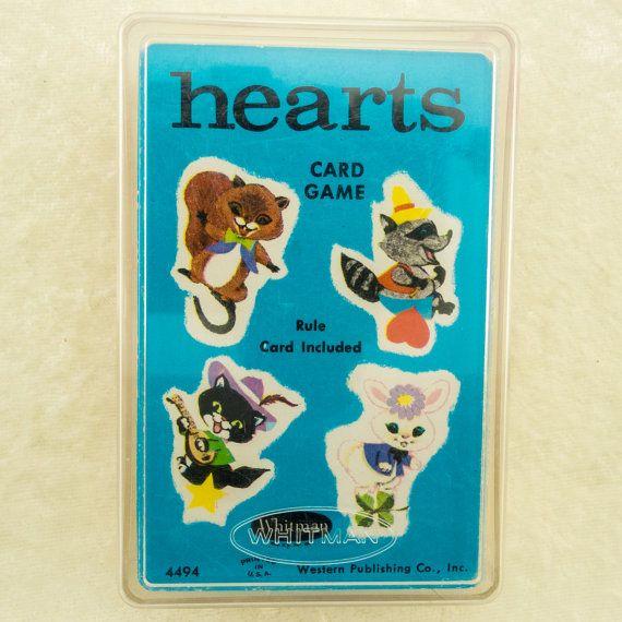 Vintage 1963 Whitman Hearts Card Game Hard Plastic Case