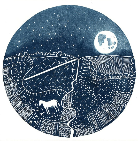 Circular lino cut  by adeegan that reflects the lunar subject. Love the gliders