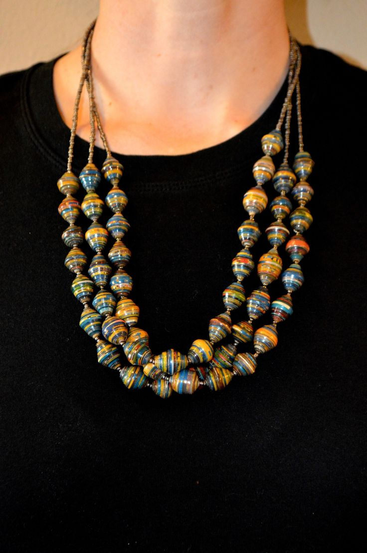 This handmade African necklace is perfect for adding an ...
