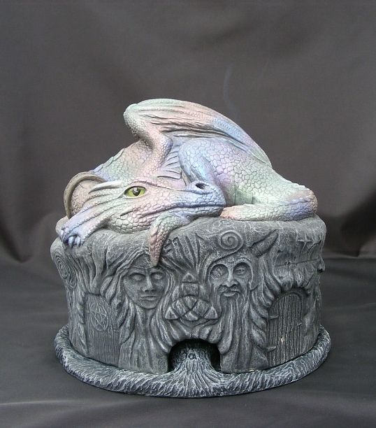 Odin the Pet Smoking Dragon Incense Cone Burner Sculpture