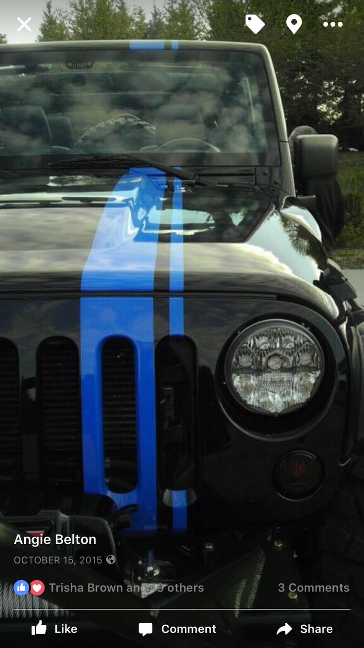 Mopar jeep wrangler is actually my second favorite vehicle loving the blue viper stripe