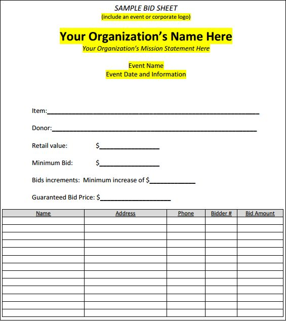 Best 25+ Silent auction bid sheets ideas on Pinterest Silent - blank sponsor form template