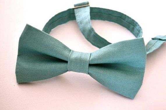 Mens Bowtie in Turquoise Cotton, Teal Bow Tie, Aqua Bow Tie, Mens Pre-Tied Bow…