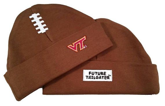 Dress your Virginia Tech Future Tailgater in style with our ultra soft high quality 100% Cotton Baby Football Cap. This super cute cap has an embroidered school logo and lace on the front and Future Tailgater on the back. Fits Newborn to 6 Months Officially Licensed Product. We