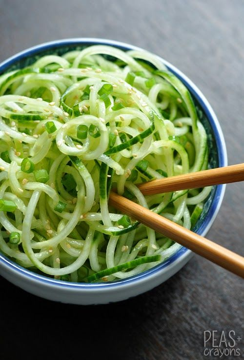 Easy Spiral Cucumber Noodles with Sweet and Sour Dressing