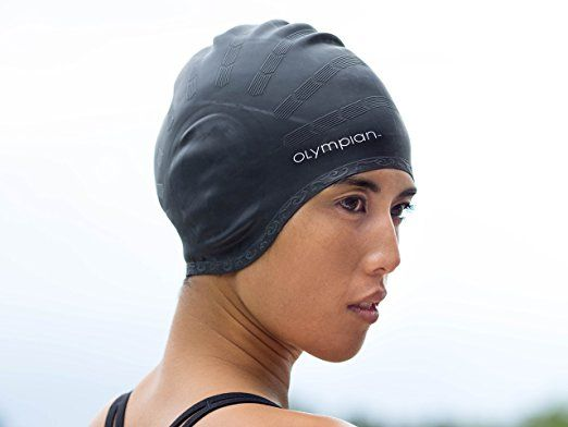 BEST SWIM CAP FOR WOMEN WITH LONG HAIR, Olympian Swimming Caps Designed for Deluxe Comfort, Made with Premium Silicone to Protect Girls Hair, Colors are Black, Blue, & Pink!