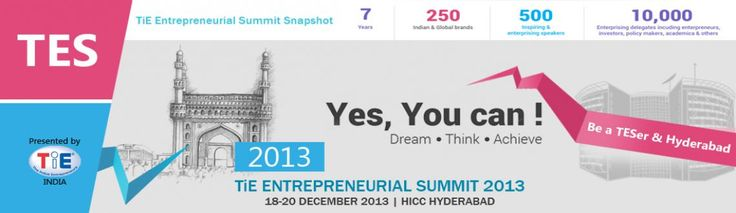 TiE Entrepreneurial Summit (TES) is the largest entrepreneurial eco system Asia. A pan India conference, TES is jointly hosted by the of TiE in different cities once every year.