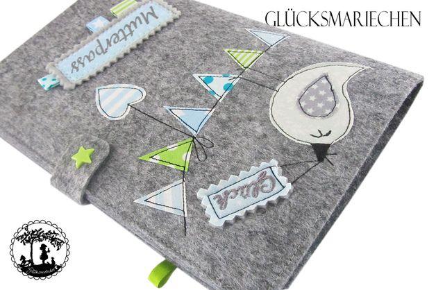 """Mutterpasshüllen - Mutterpasshülle """"GLÜCK"""" - Vogel auf W... - ein Designerstück von Gluecksmariechen bei DaWanda"""