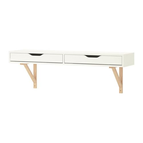 EKBY ALEX / EKBY VALTER Shelf with drawer IKEA Drawer stops prevent the drawers from being pulled out too far.