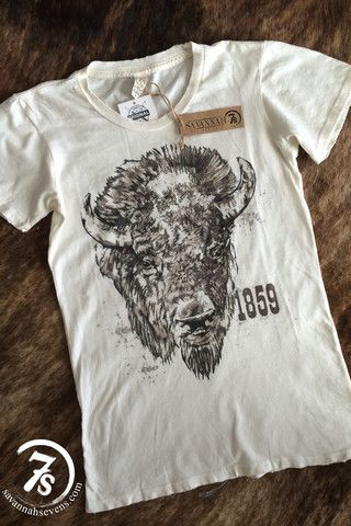 The Tatonka – 1859 Bison fitted destroyed tee from Savannah Sevens Western Chic