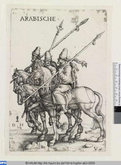 Drei arabische Soldaten mit Lanzen zu Pferde Hopfer, Daniel (1504 - 1536) Virtuelles Kupferstichkabinett