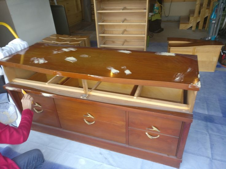 MCM exceptional quality - set of dresser and chest done in metallic.