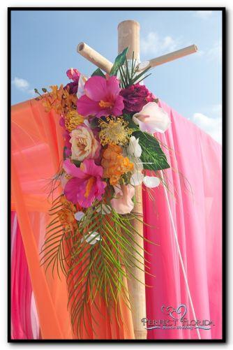 Florida Beach Wedding Tropical Decor ~ Beautiful colours, magenta, orange, coral & ivory