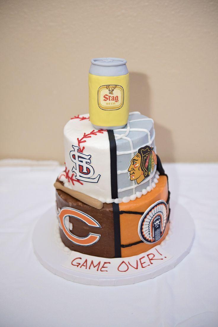 My husband's groom cake! St. Louis Cardinals baseball, Chicago Blackhawks hockey, Chicago Bears football, Illinois Fighting Illini basketball, Stag Beer