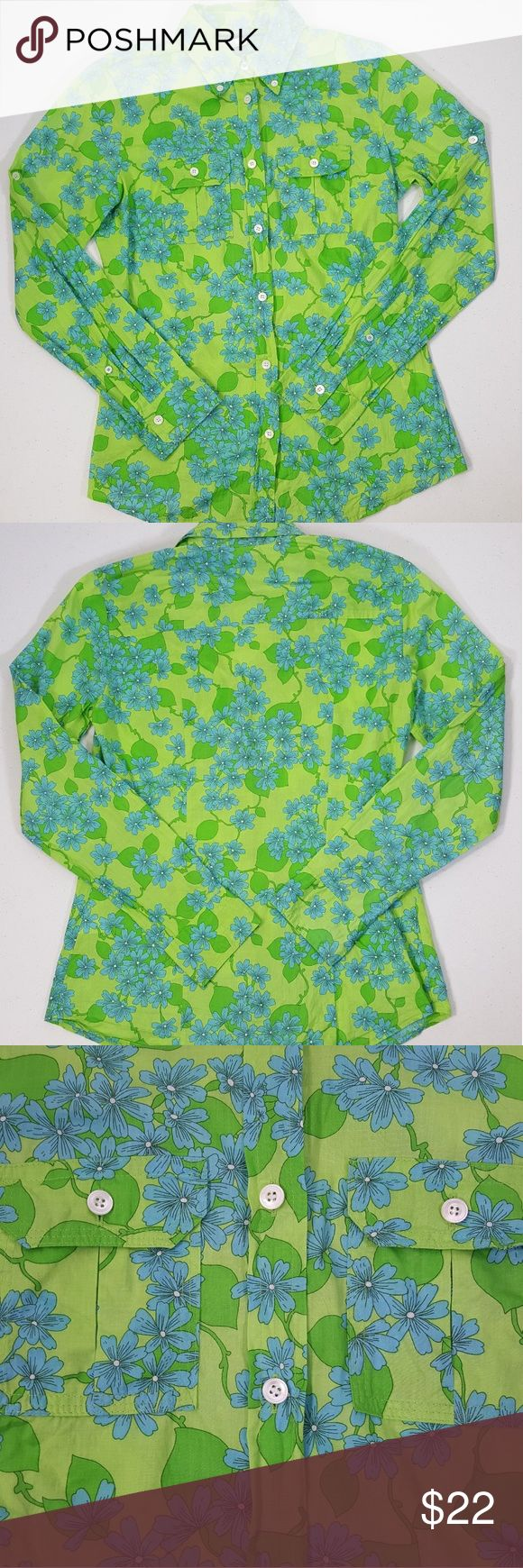 J.Crew Lime Green Floral Slim Fit Woman's Shirt Women's Size XS J.Crew Lime Floral Button Up Shirt. The shirt is in excellent preowned condition. No stains or tears. Colors are very vibrant. Has 2 pockets on front of shirt on chest (see picture). 100% Cotton. Machine Washable. Thank you! God bless. J. Crew Tops