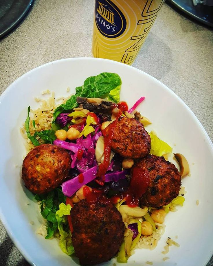 #MeatlessMonday  Try a Falafel Rice Bowl. Packed with a punch.  Add hummus to the bowl for extra protein and top with Sriracha Sauce for a little heat.     ---- Fresh & Highest Quality Mediterranean Find the nearest Dino's @  http://www.dinosgyros.com/locations.html   #Dinos #fastcasual #lunch #dinner #healthyrestaurants #kidfriendlyrestaurants #mn #twincities #healthy #mediterranean #buildyourown #sandwiches #ricebowls #salads #chips #hummus