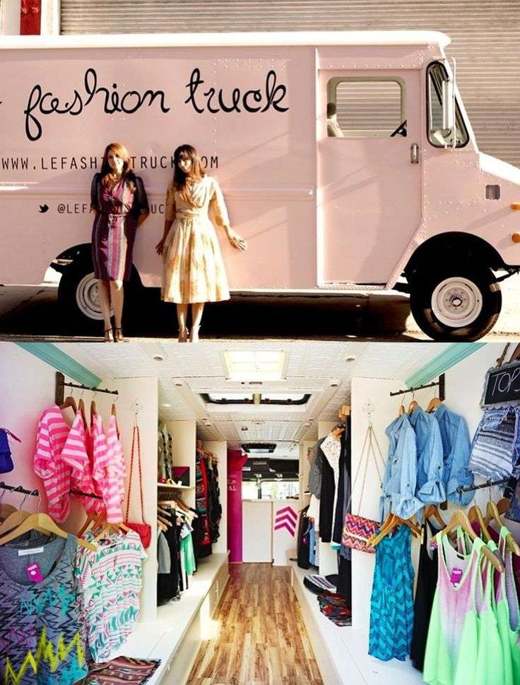 Traveling boutique truck trailer inspiration ideas - how to makeover a truck or camper trailer and turn it into a traveling fashion clothing boutique