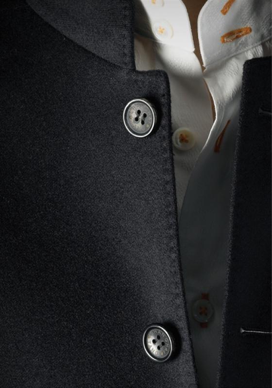 double button mandarin collar shirt