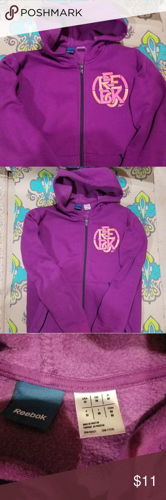 Reebok zip up sweater Women's purple Reebok zip up sweater, fleece lined inside Reebok Sweaters