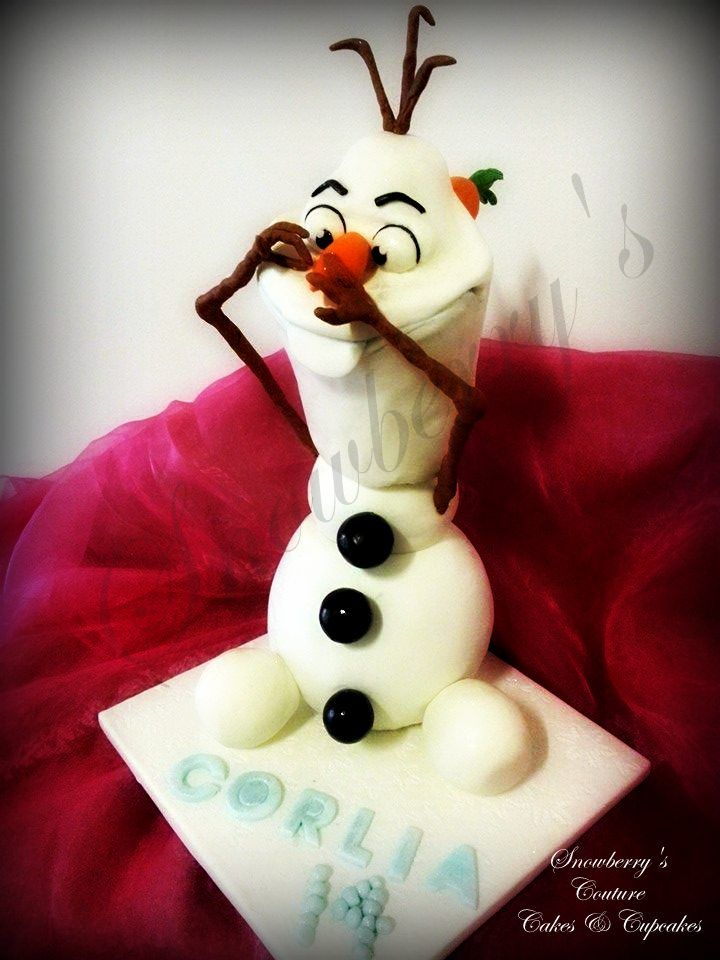 3d Snowman Cake standing 40cm high. Chocolate cake bottom with polystyrene mid and rct head.