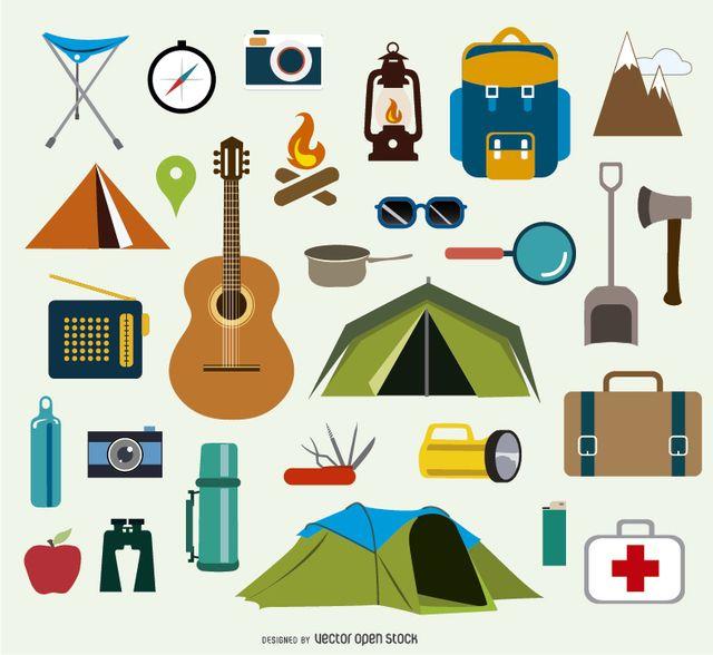 Acampar iconos y elementos