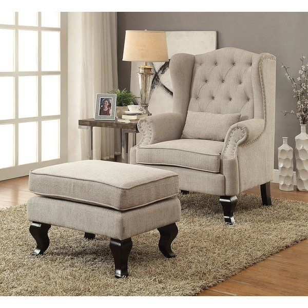 Evins Wingback Chair Chair And Ottoman Set Chair And Ottoman Fabric Accent Chair