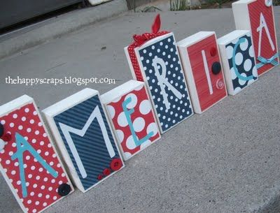Idea for child's name blocks- wooden blocks, paint, modge podge, scrapbook paper, use Silhouette to cut out letters